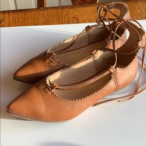 Chase and Chloe flats with ankle ties. EUC 5.5